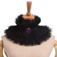 Elizabethan Victorian Detachable Collar Vintage Black Ruffled Tall Wide Neck Ruff