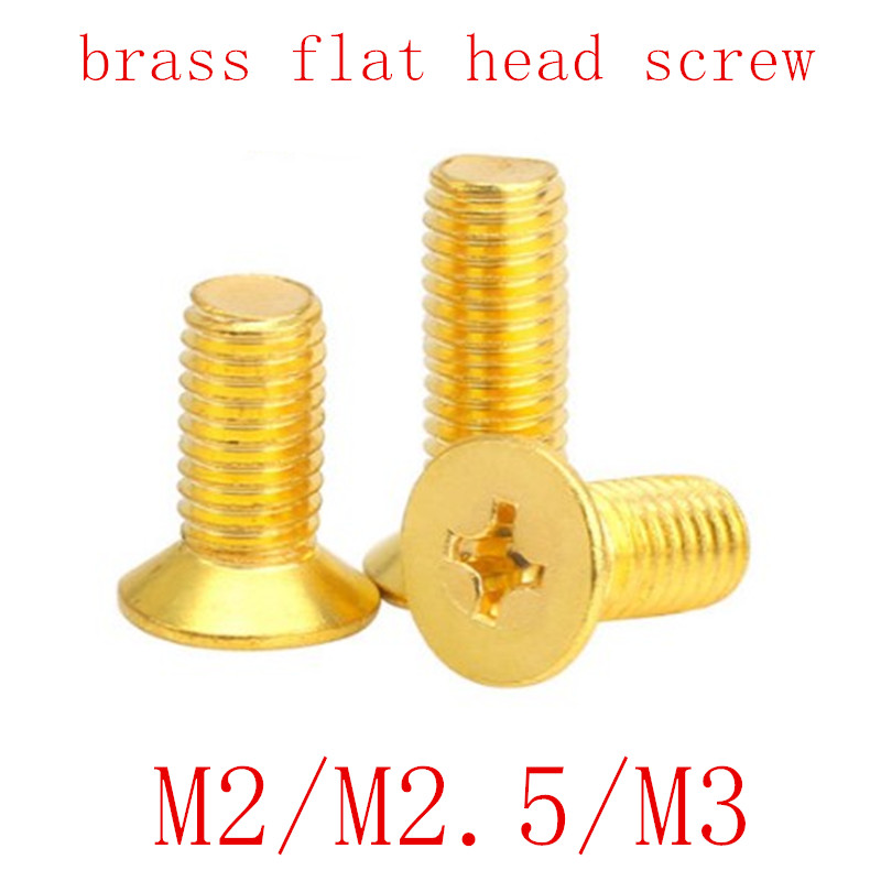 50pcs/lot M2 M2.5 <font><b>M3</b></font> DIN965 <font><b>Brass</b></font> Cross Recessed flat countersunk Head <font><b>Screws</b></font> Phillips <font><b>Screws</b></font> image