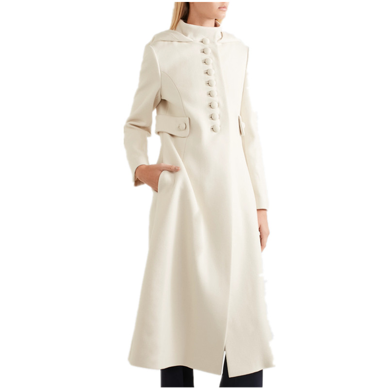 UK 2019 Fall Winter Women Simple Cashmere Look Maxi Long Robe Coat Female Woolen Blended  Outerwear Manteau Femme Abrigos Mujer