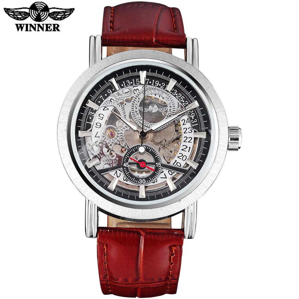 Prix pour GAGNANT casual marque hommes mode sport mécanique automatique de montres bracelet en cuir hommes squelette montres homme horloge reloj hombre