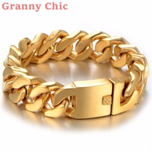Granny Chic High Quality Heavy Brushed Gold Tone Curb Cuban Chain 316L Stainless Steel Bracelet Bangle 9″ 20mm Fashion Jewelry