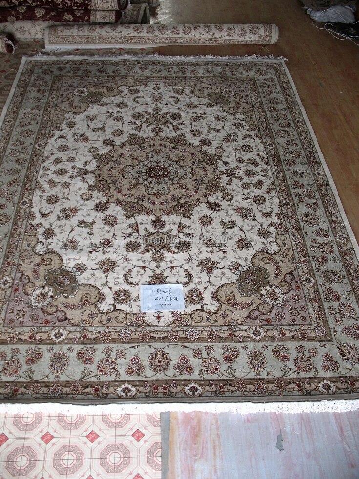 Livraison gratuite 6'X9 'FAIT 160 Ligne Main-noué Laine Oriental Tapis Persan main persan carpet avec déduction caractère vert clair