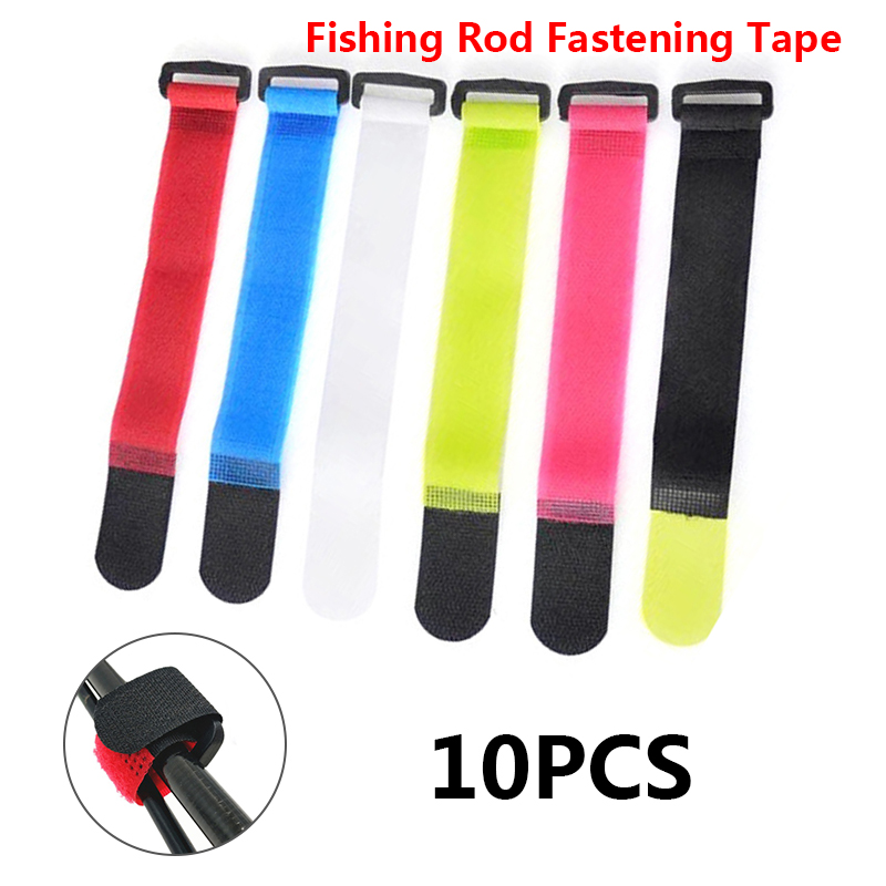 Re-usable Fishing Rod or Cable//cord Tie Hook Loop 10pcs COLOURS