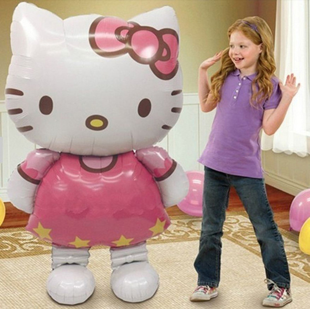 1pcs 116*65cm hello kitty helium/foil balloon air balls party decoration happy birthday kid globos party baloon balao de festa