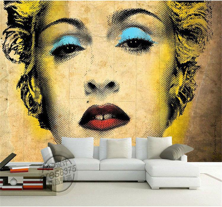 Aliexpress.com: Compre Foto Papel De Parede Do Vintage Marilyn Monroe Pop  Art Pintura Grande Arte Da Parede Do Quarto Papel De Parede Personalizado  Mural 3D ... Part 90