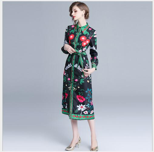 Lâche ligne Impression Mode Longue Femme Nouveau A Femmes Le Manteaux Longues 2019 Vers Black Printemps Section Robe Bas Manches Tournent F1cT3lKJ