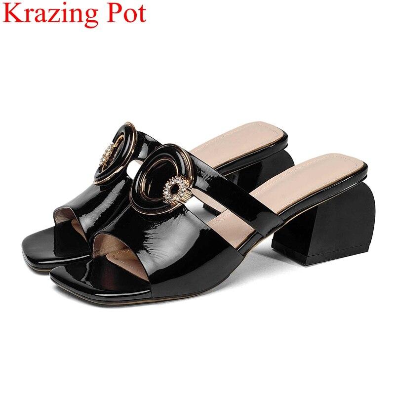 new arrival peep toe genuine leather high heels women sandals crystal elegant outside slippers office lady mules summer shoe L36