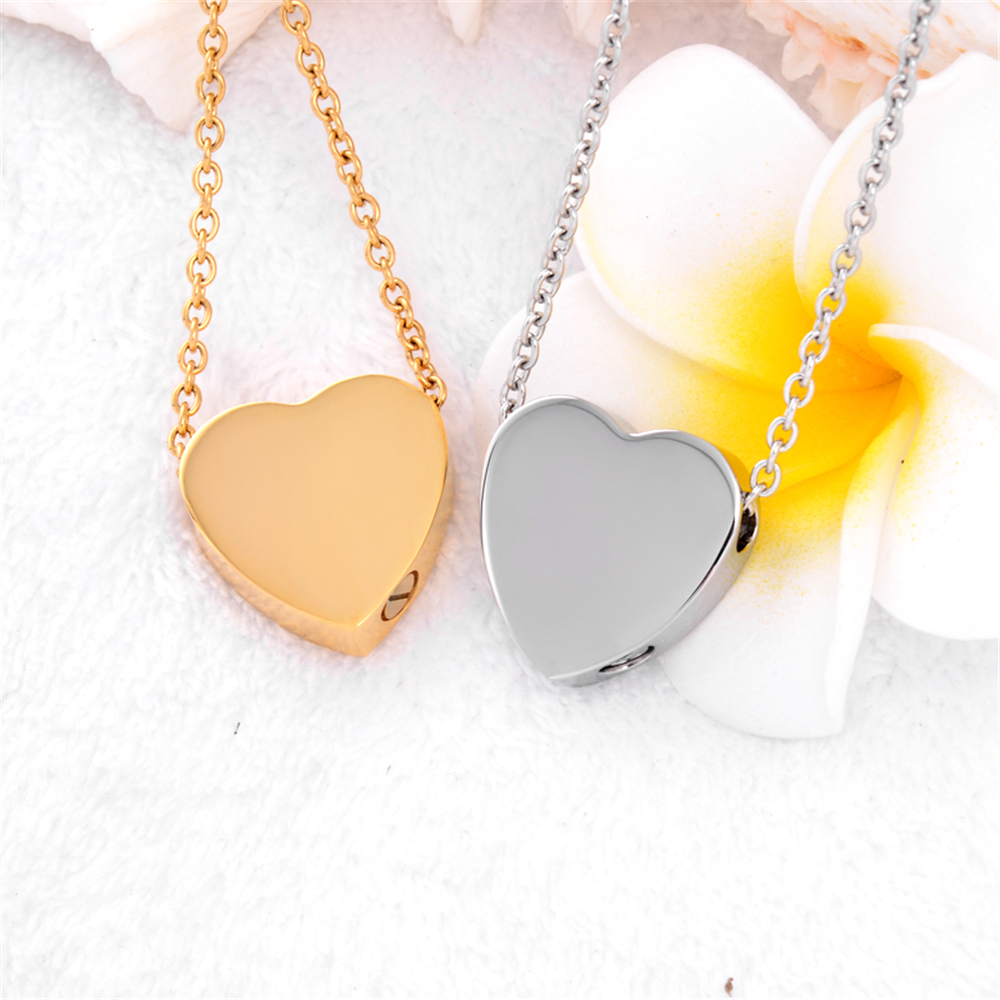 Plain Heart Cremation Urn Necklace Memorial Jewelry Stainless steel Ashs Holder Keepsake Charm womens Gift