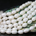 Beauty women 7-8mm white natural freshwater cultured pearl rice spacer jewelry making loose beads 15inch B1344