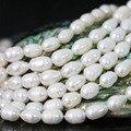 Beleza das mulheres de 7-8mm branco natural cultivadas de água doce da pérola do arroz spacer jewelry making contas loose 15 inch B1344