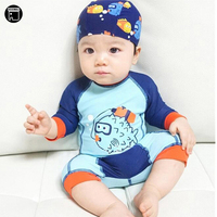 USEEMALL Baby Boy Girl Swimwear One Piece Swimming Clothes with Cap New Summer Cartoon Models Children's Swimsuit High Quality