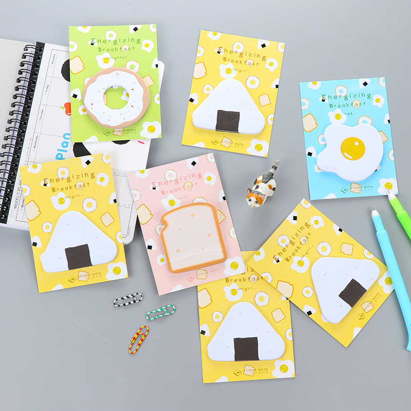 30Pcs/Pack Cartoon Cute Energizing Breakfast Post It N Times Memo Pad Notebook Student Sticky School Label Gift E0080