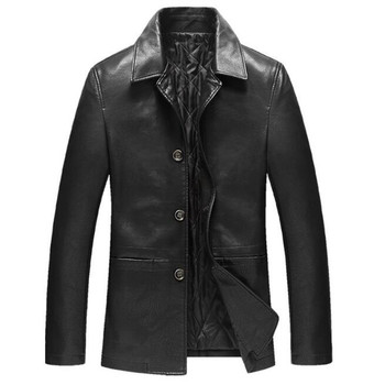 Faux Sheep Leather Jacket Men Coats 4Xl High Quality PU Cotton Padded Thickening Warm Coat Male Business Casual Outerwear A3891