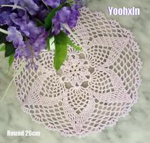HOT Lace Round cotton table place mat drink pad Cloth crochet placemat cup mug wedding tea coffee coaster handmade doily kitchen