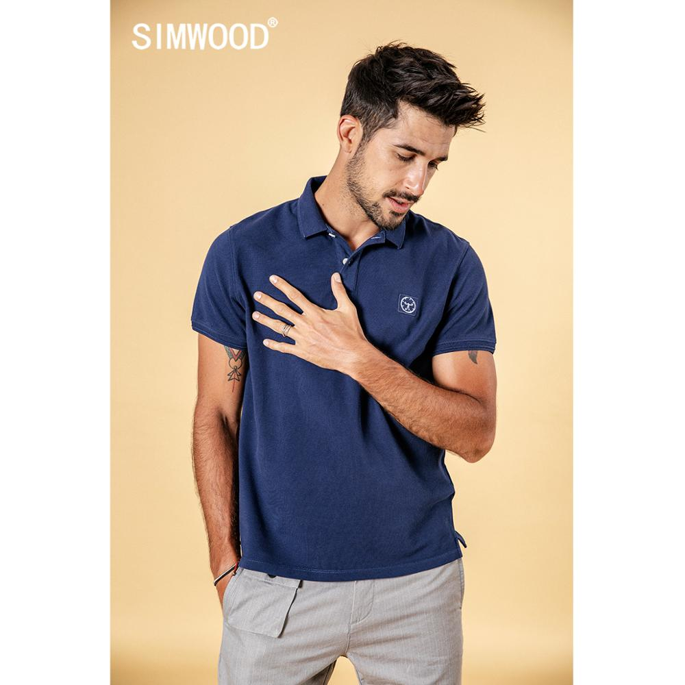SIMWOOD 2019 summer autumn new polo shirts men classical fashion Embroidery logo 100 cotton tops high quality clothes 190294 in Polo from Men 39 s Clothing