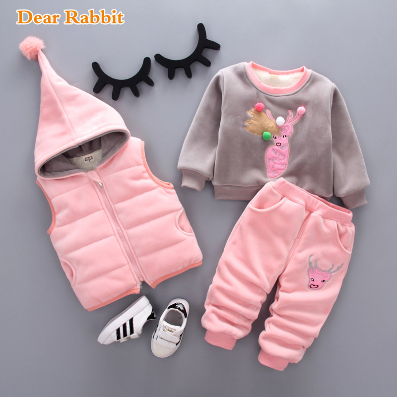 Children's clothing velvet thicken three set kids newborn clothes baby boy girl suit winter wool coat tops warm fleece jacket