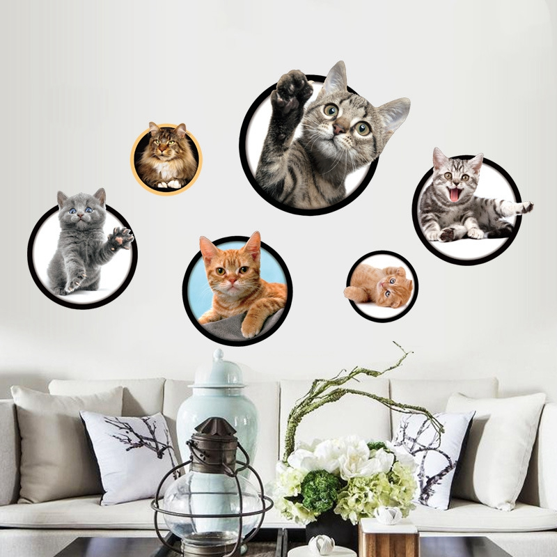 Us 7 78 22 Off 3d Vinyl Wallpaper Adhesive Free Desktop Wallpaper Modern Cute Creative Cat Restaurant Corridor Staircase Decorations Stickers In
