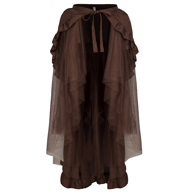 Brown Ruffled Cotton & Mesh Lace Up Long Asymmetrical Vintage Steampunk Skirts Women Sexy Skirt Plus Size Gothic Clothing S 6XL