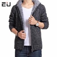 2017 EU Brand Winter Thicken Hoodie Men Zipper Hooded Coat Mens Tracksuit Sweatshirt Solid Color Thick