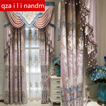 European top Luxury royal embroidery Blackout curtains for Living Room classic custom high quality Bedroom/Kitchen