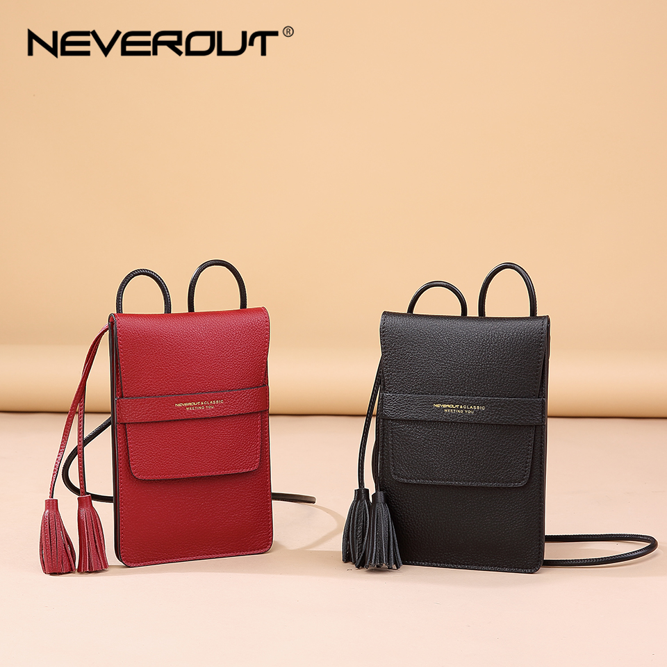 NEVEROUT Solid Cross-body Travel Messenger Purse Women's Soft Genuine Leather Phone Small Bag Tassel Flap Shoulder Sac a Main