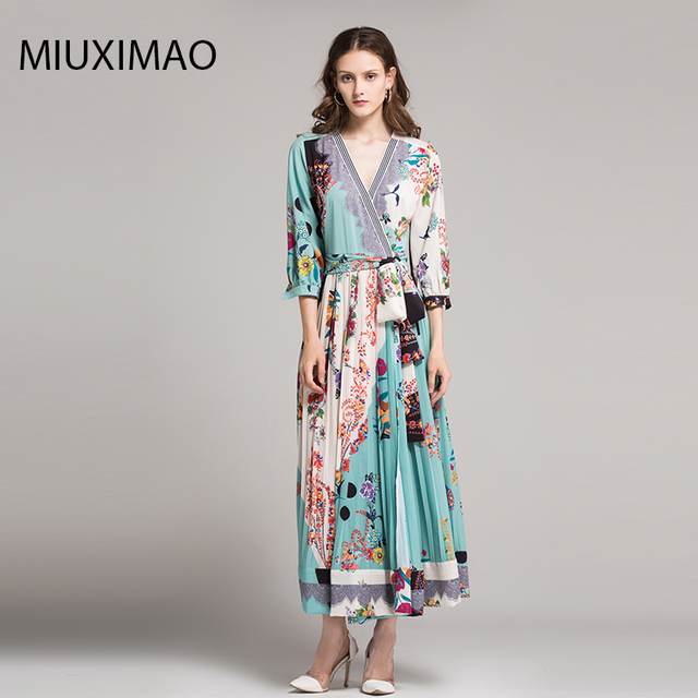 a06f368d38e41 2018 High Quality Spring&Fall Dress Newest Cute Style V Neck Half Sleeve  Flower Print Elegant Dress Women-in Dresses from Women's Clothing & ...