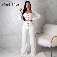 2 Two Piece Set Women Ribbed Buttons O Neck Crop Top and Long Pants Set Sexy Long Sleeve Tracksuit Women Conjunto Feminino 2019