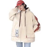 Spring Autumn New Woman Coat Hooded Loose Large Size Windbreaker Jacket Chic Korean Harajuku Leisure Feminino Outerwear NO896