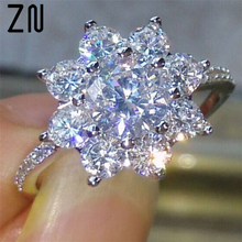 ZN Jewelry Fashion Snowflake White Zircon Silver Color Ring For Women Engagement Rings wedding Heart Flower Party