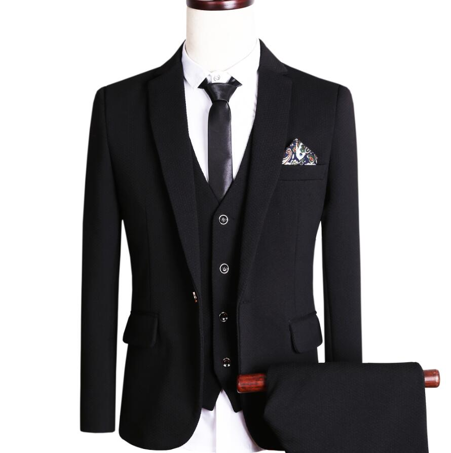 black slim fit 3 suit dress yy
