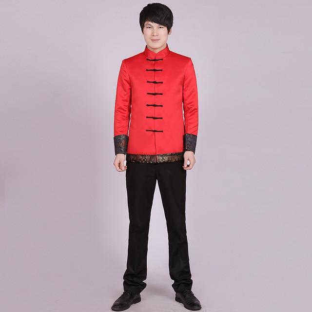 Красный Китайский Стиль Пиджак мужская Атласная Свадебное Тан Костюм Ручной работы Кнопки Традиционная Китайская Свадьба Человек Блейзер Стилей