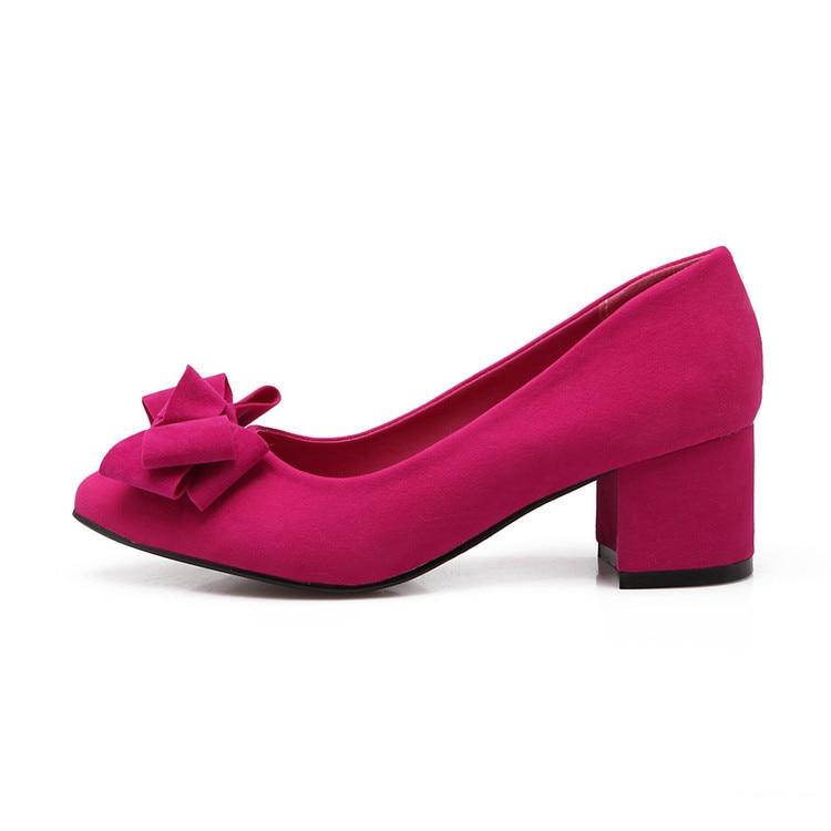 Pointu Simples Carré Robe Grande Dames Pompes pink Taille Bureau Xjrhxjr black purple Bout Mode Red Chaussures Femme Talon Doux Bowtie Troupeau w0768