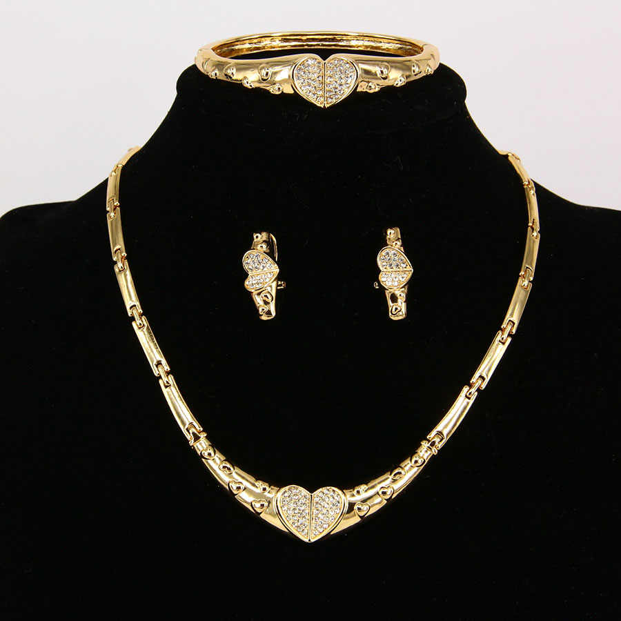 ניגרית אפריקה חתונת כלה תכשיטים לנשים אופנה שרשרת לב עגיל סט תכשיטי קריסטל צמידי זהב צבע