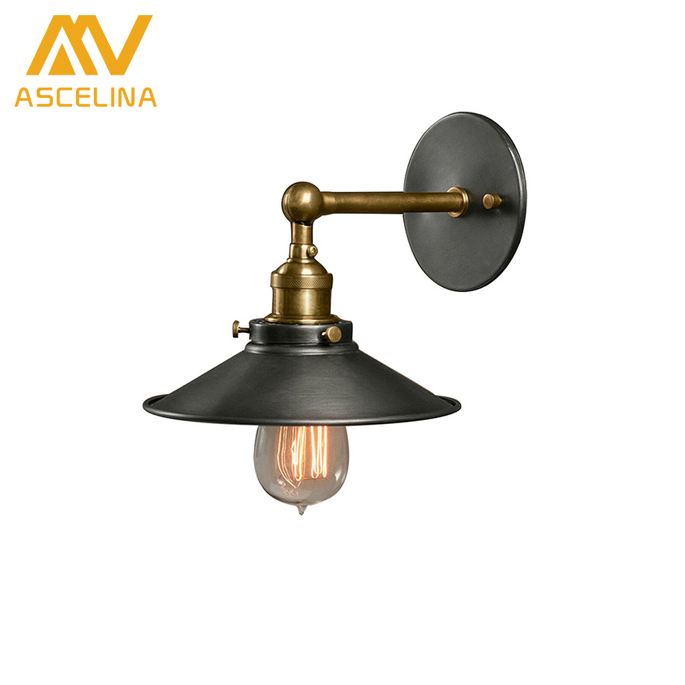 American Loft Industrial Wall Lamps Vintage Bedside Wall Light Metal 22cm Lampshade E27 Edison Bulbs 110V/220V