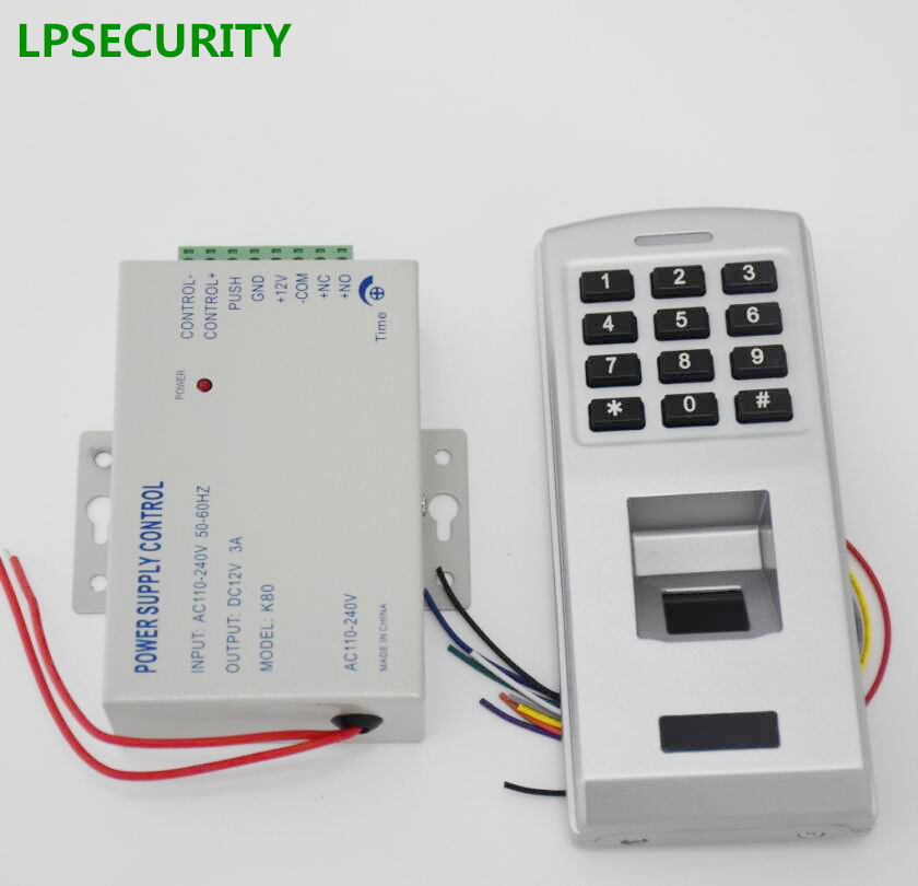 LPSECURITY Standalone 500 user metal fingerprint keypad password code reader door lock access control with power supply 12v 3A кальсоны user кальсоны