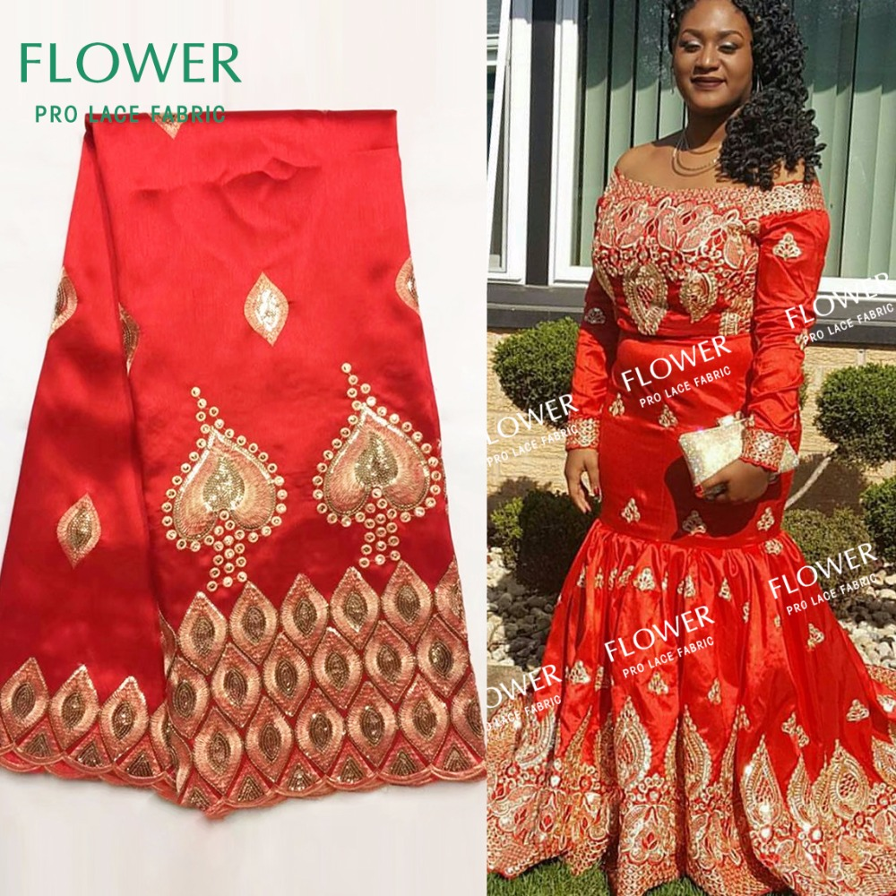 2018 High Quality African George Lace Fabric With Sequins Red Color Laces For Indian Women Wedding