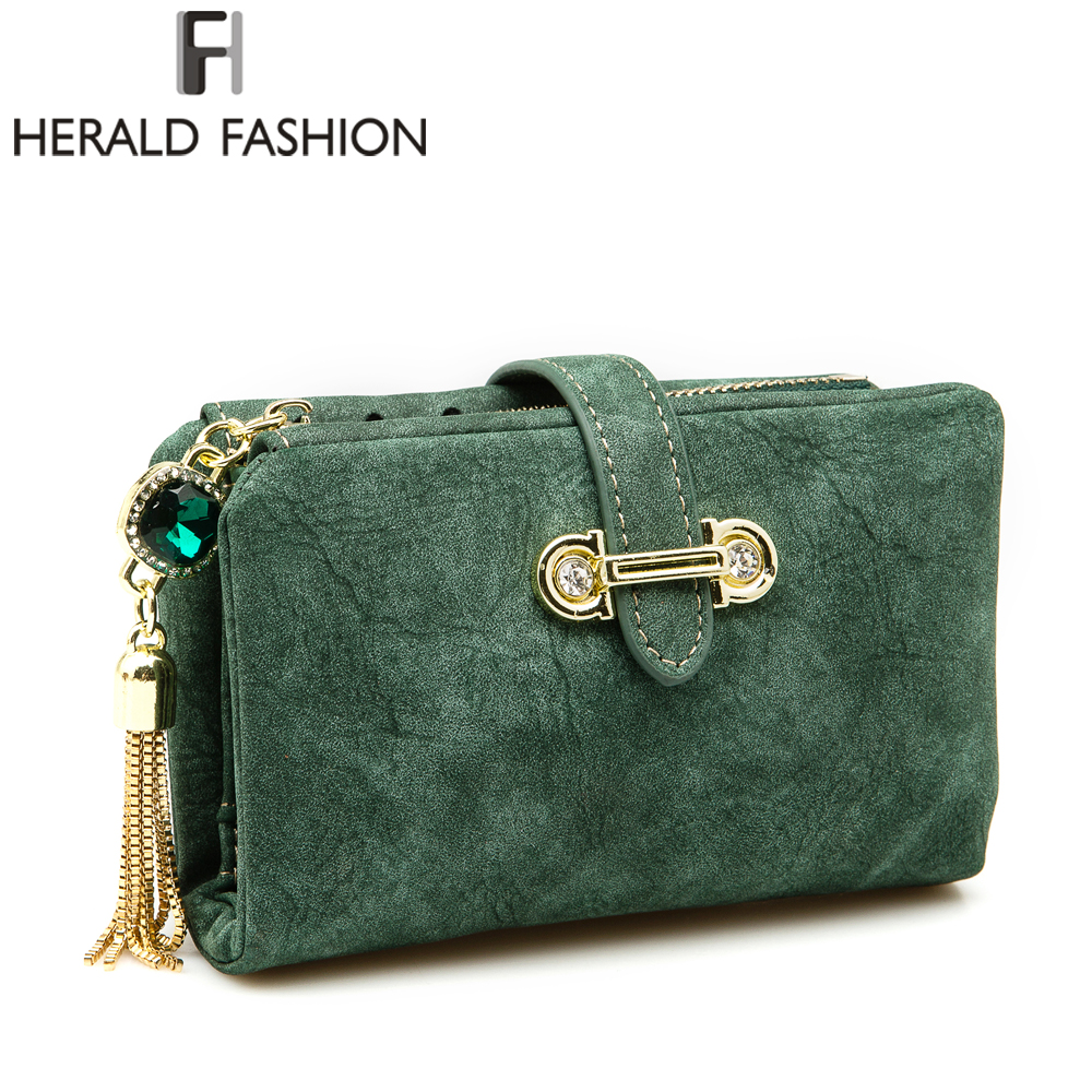 Herald Fashion Nubuck Leather Women Wallets Female Zipper Small Wallet Women Short Coin Purse Holders Retro Wallet and Purses women wallets drawstring nubuck leather zipper wallet women short purse retro tassels clutch