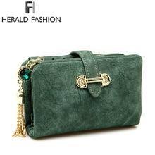 Herald Fashion Nubuck Leather Women Wallets Female Zipper Small Wallet Women Short Coin Purse Holders Retro Wallet and Purses