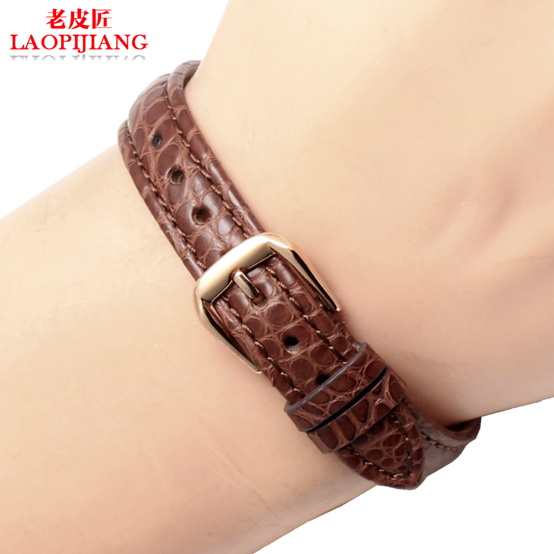 цена на Laopijiang Crocodile leather strap universal ladies small size watch 12 13 14 15mm dark brown