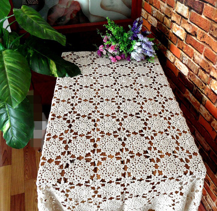 Handmade Crochet Flowers Beige 150X220CM Cotton Tablecloths Hot Table cloth Piano Cover towel Sofa towel Home