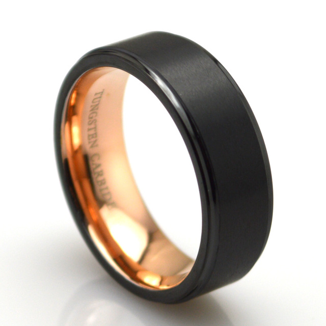 7e1424fbc70 8mm Men s Gorgeous Black Plated Tungsten Carbide Ring with Plated Rose Gold  Interior Brushed Center and