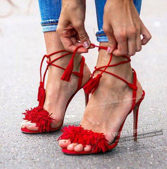 ФОТО hot selling red suede fringed woman sandal 2017 summer sexy open toe lace-up sandal cutouts gladiator sandal tassel sandal blue