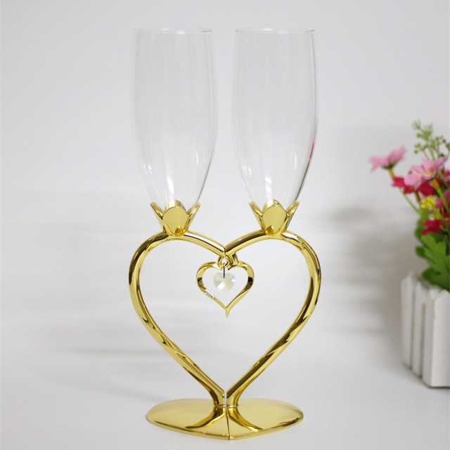 Heart Shape Wedding Champagne Glasses Gold Metal Wine Goblets On