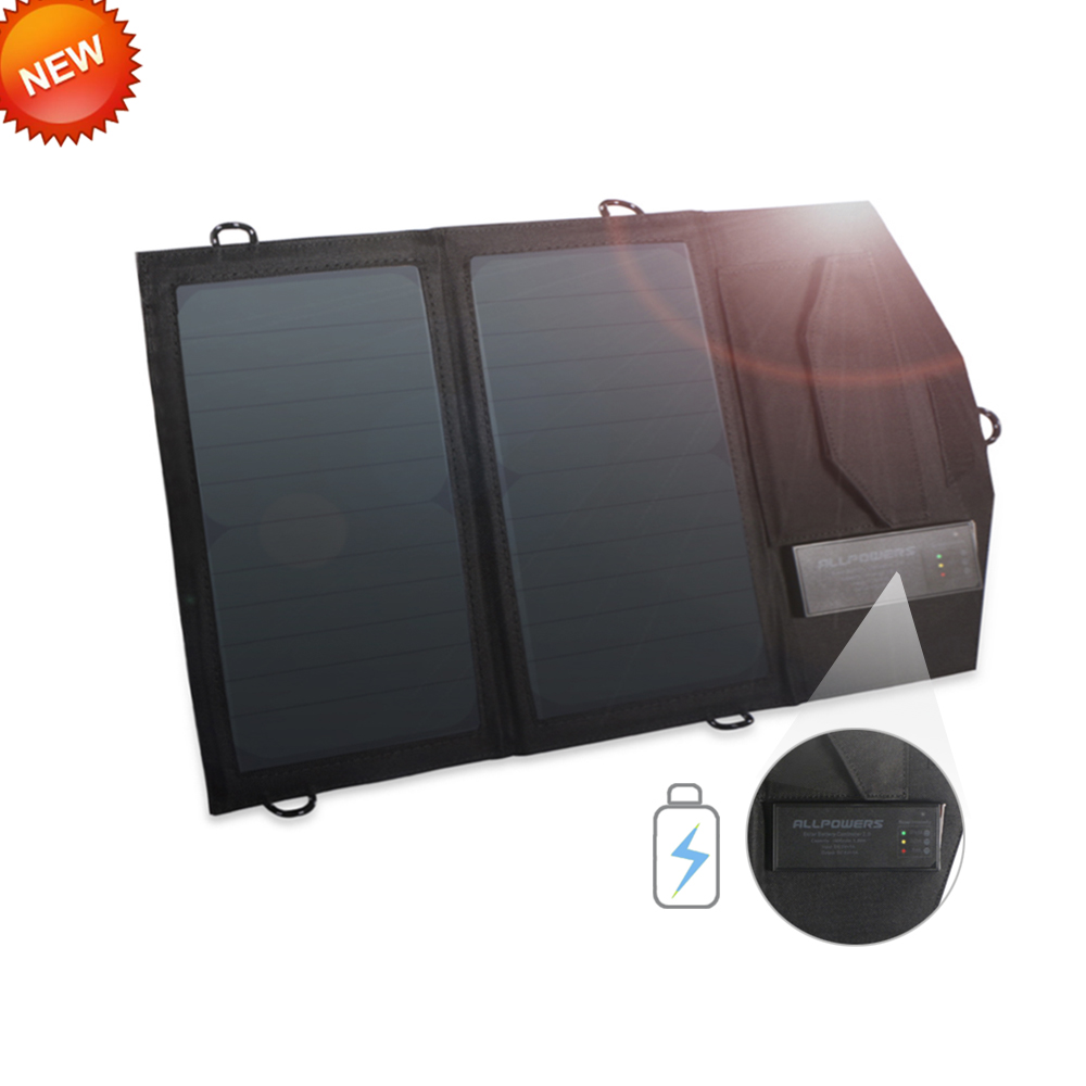 ALLPOWERS Newest Power Bank Li-polymer Solar Battery Charger 14W Real Solar Power Bank Solar Charger Charging for Smartphones.