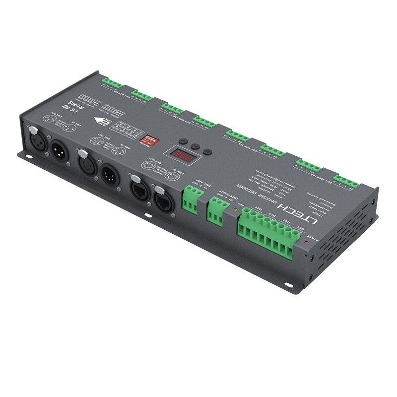 New Ltech Led DMX Decoder DC 12V 24V Input 3A*24CH Max 72A 1728W output 24 Channel DMX CV Decoder XLR-3/RJ45 Led RGB Strip Use new ltech din rail dmx decoder din 808 8ch cv dmx decoder dc12v input 3a 8ch output 8 channel dmx512 led rgbw strip cv decoder
