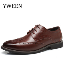 YWEEN Brand Men Brogue Dress Shoes With Lace up Business Leather Shoes Large Size