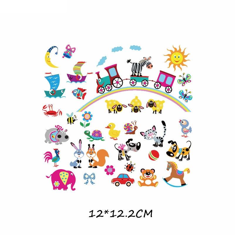 Железные милые нашивки в виде животных набор для детей Одежда DIY Футболка аппликация теплопередача виниловая нашивка единорога наклейки термопресс - Цвет: 508