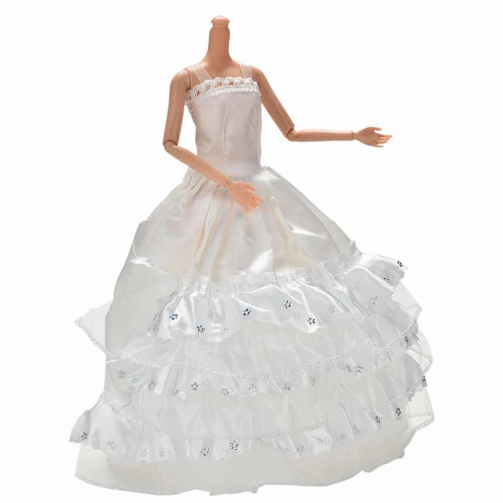 Trắng 3 Lớp Ren Wdding Đầm S Dài Dễ Thương BẦU ĐẦM Búp Bê Tự Làm Đồ Chơi Cho Bé