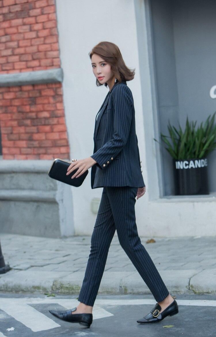 Veste Casual Blazer Lady Et Rayé Pièce Définit Pantalons Zipper Uniforme Pantalon Office 1 Femmes Mujer 2 2 Costumes Mode Tenues Travail pc6xwzqW8Y
