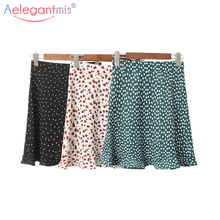 Aelegantmis Новая женская летняя Милая юбка с цветочным принтом, женская тонкая мини-юбка с высокой талией в стиле Лолиты, женская повседневная короткая юбка с оборками